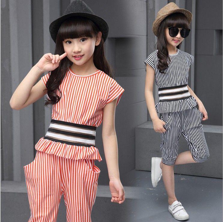 f6ee719d830 2016 fashion girl summer dress striped set children kids girls clothes  defined waist T