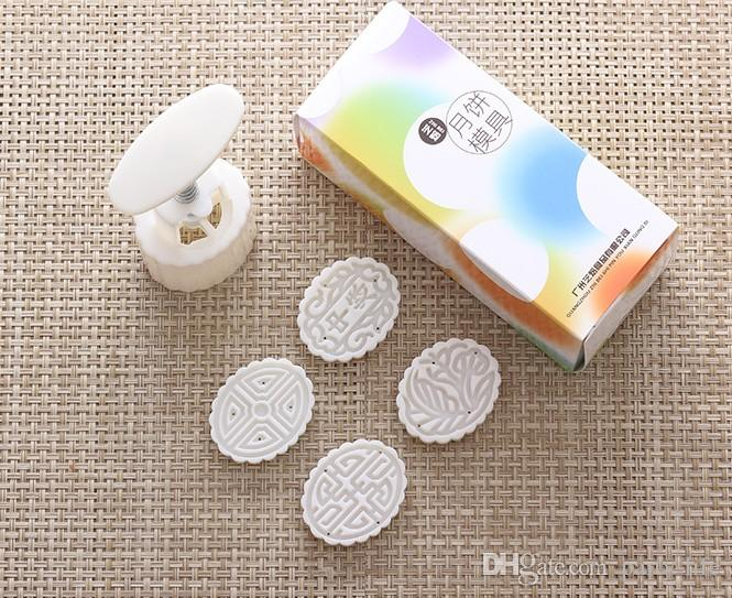 50g white elliptical shape flower patten Moon Cake Molds with 4 Stamps plastic hand pressure chinese mooncake mold,20sets/lot