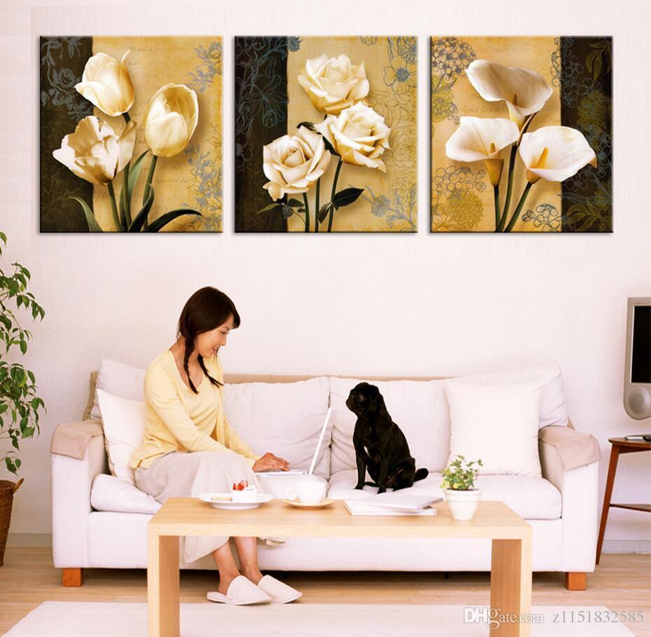 3pcs (프레임 없음) 예술 난초 캔버스 유화 포스터 벽에 거실 사진 모듈 사진 인쇄