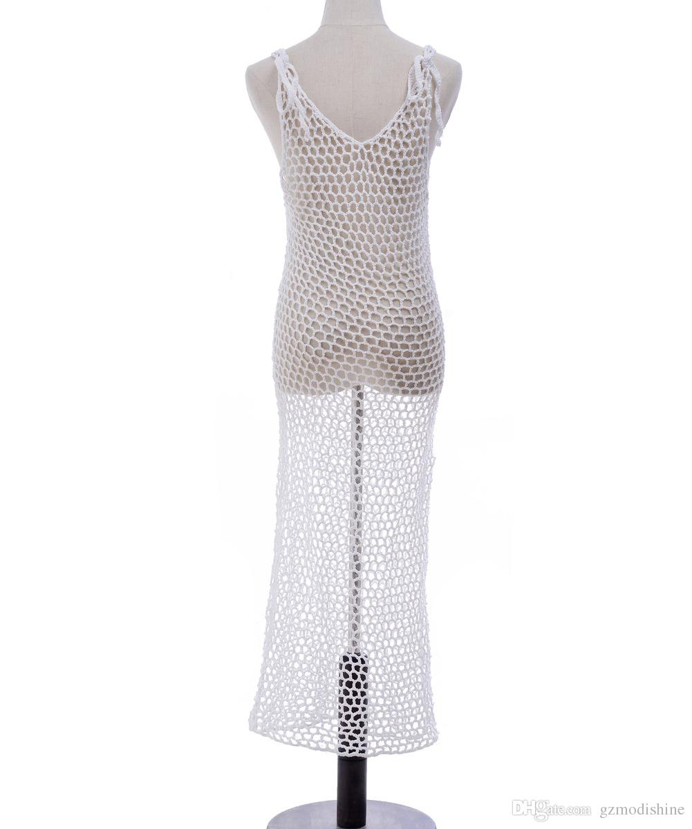 2018 Summer Knit Beach Long Skirt Wear Mesh Swimsuit Cover Up Hand ...