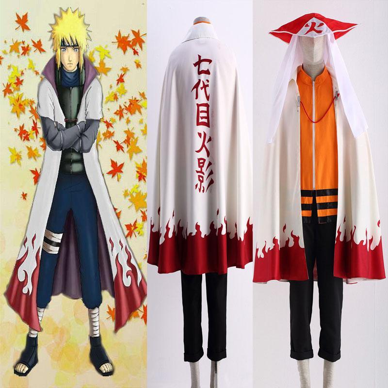 Free Shipping Japanese Anime Naruto Uzumaki Naruto12 Hokage Cosplay Costume Halloween Cloak Hat Cartoon Character Costume Customize Full Set