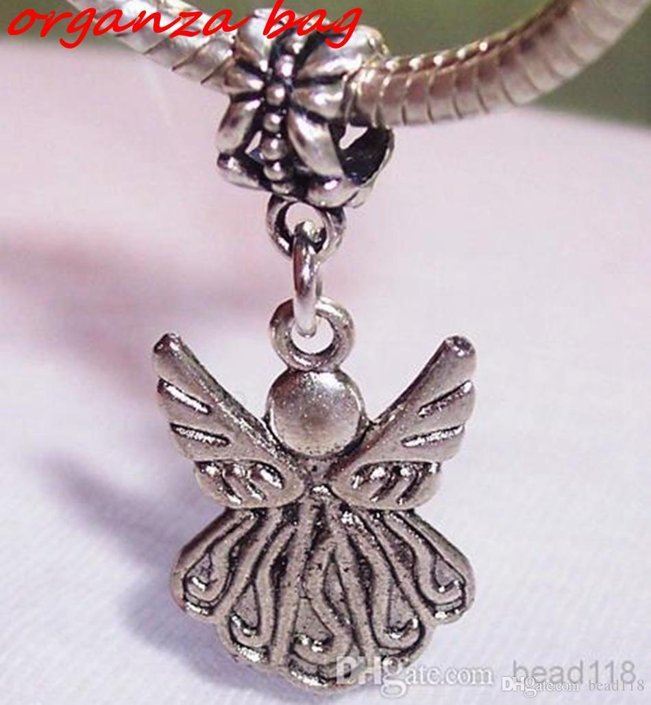 Mic 100pcs Guardian Angel Charm Bead för Antik Silver Europeisk stil Charm Hängsmycke 34 x 15 mm DIY Smycken