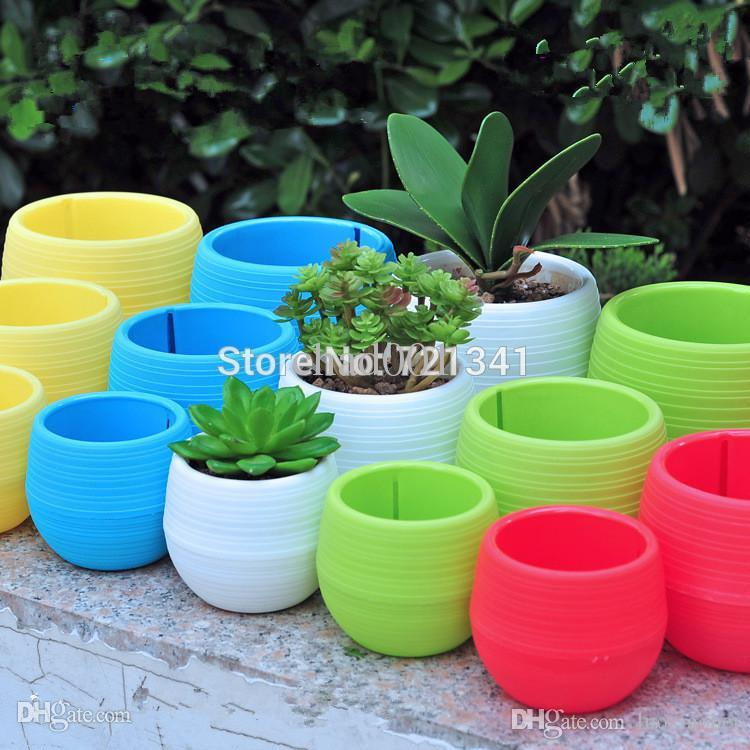 Wholesale-10pcs Colorful Plastic Plant Pots Water Storage Lazy Flower Pot Indoor Potted Home Garden Decor Planter SML