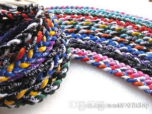 New Titanium Sports Necklaces 3 Ropes Braided Sports Health Germanium Titanium Energy Twisted Chokers For Football Baseball Men Women