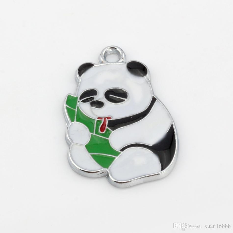 Hot ! 100pcs Enamel Panda eating bamboo shoots Charm Pendant 19X 28 MM DIY Jewelry