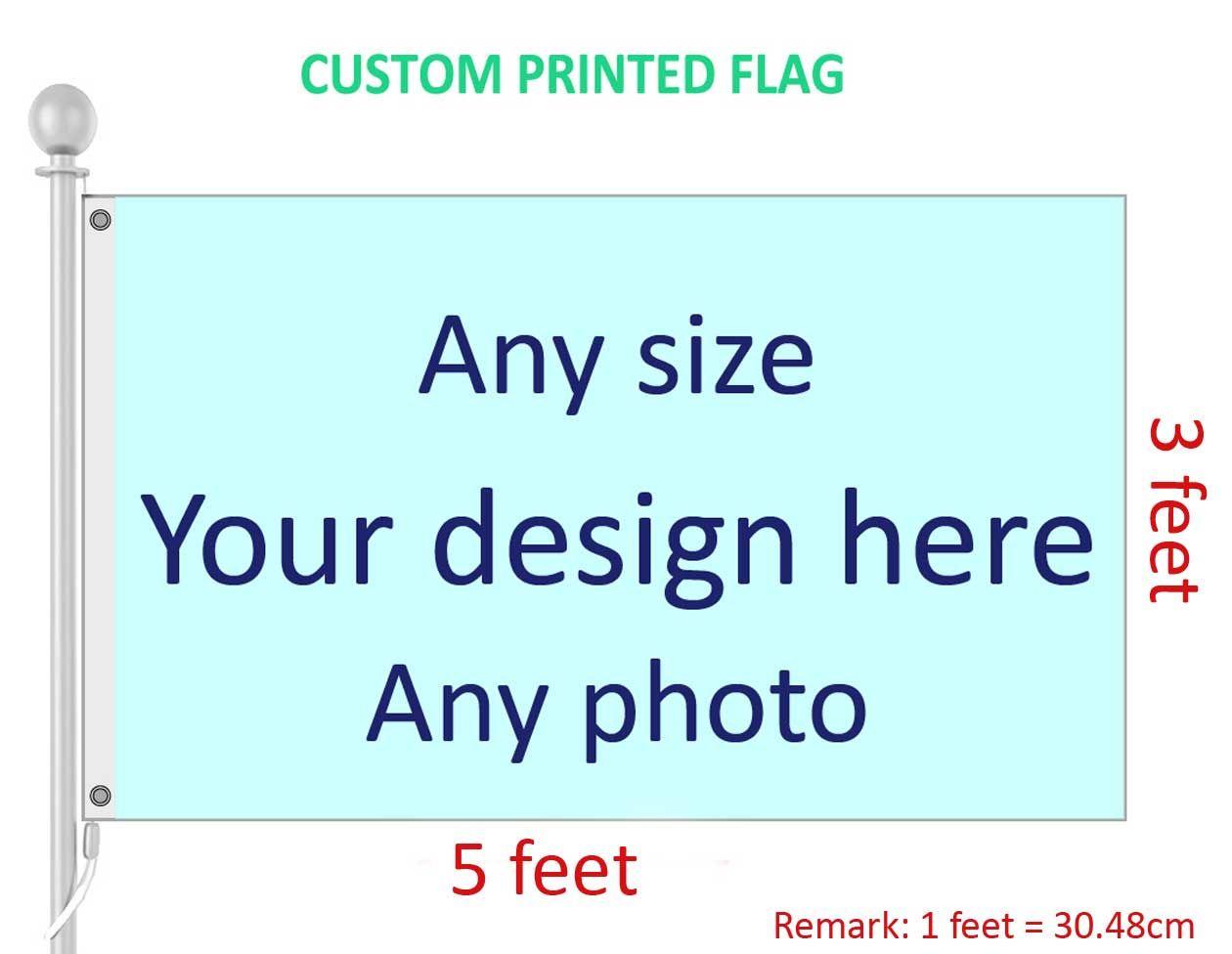 3x5 قدم العلم مخصص وراية أي شعار أي لون 100D البوليستر الطباعة الرقمية ث / رمح تغطية الحلقات