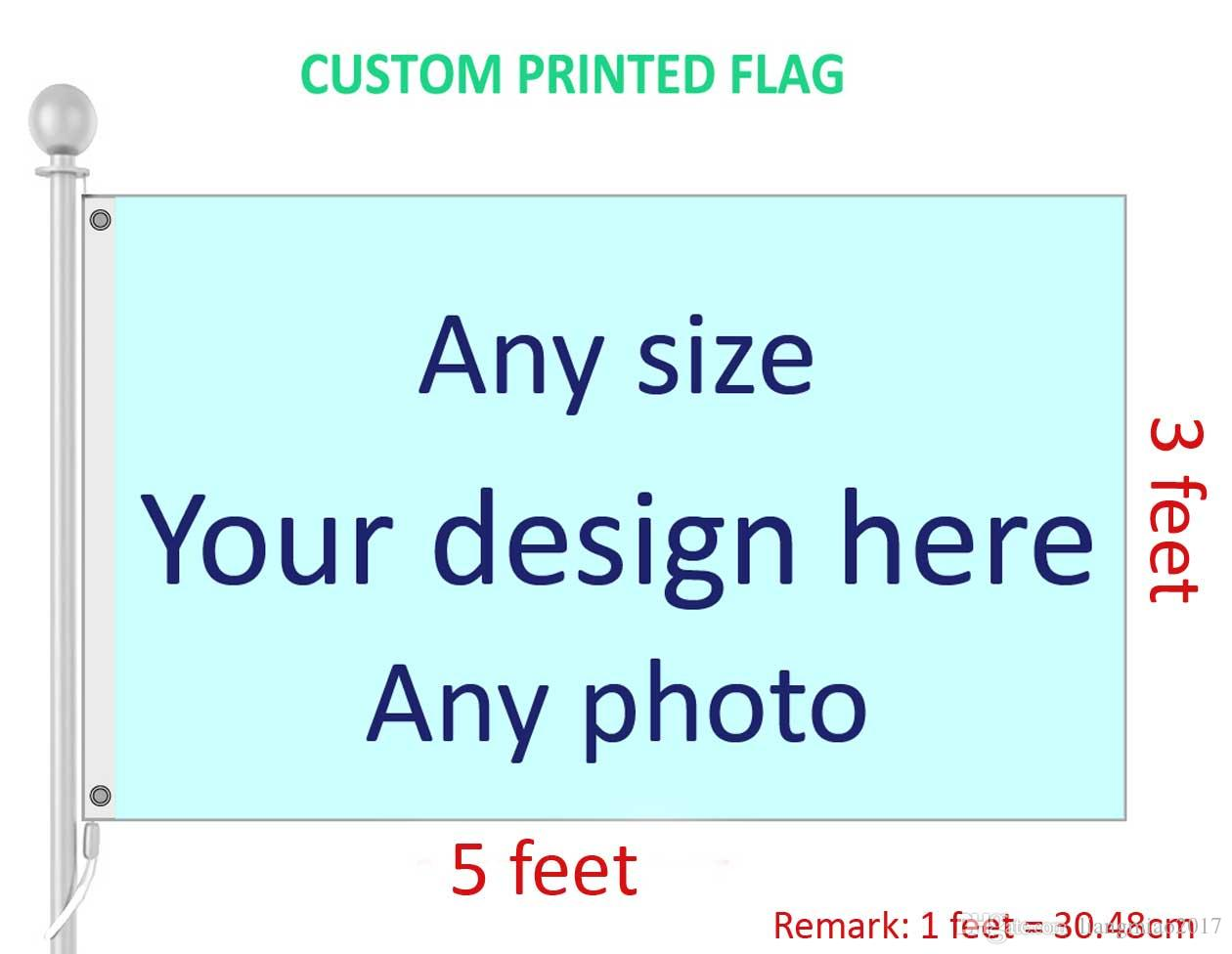 3x5 Feet Custom Flag and Banner Any Logo Any Color 100D Polyester Digital Printing w/ shaft cover Grommets