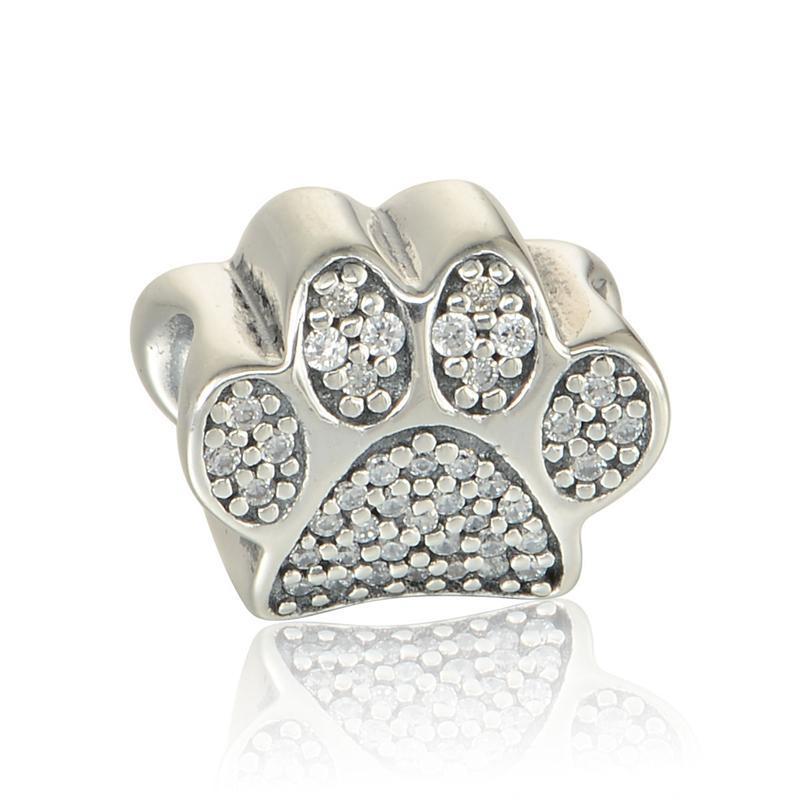 Perline di fascino zampa S925 Sterling Silver adatti per braccialetti in stile originale Footprint 791714CZ H8
