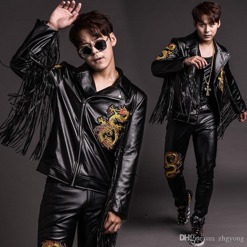 Haute qualité PU cuir hommes costumes noir glands broderie veste manteau slim pantalons discothèque hip-hop jazz costumes chanteur tenue bar costume