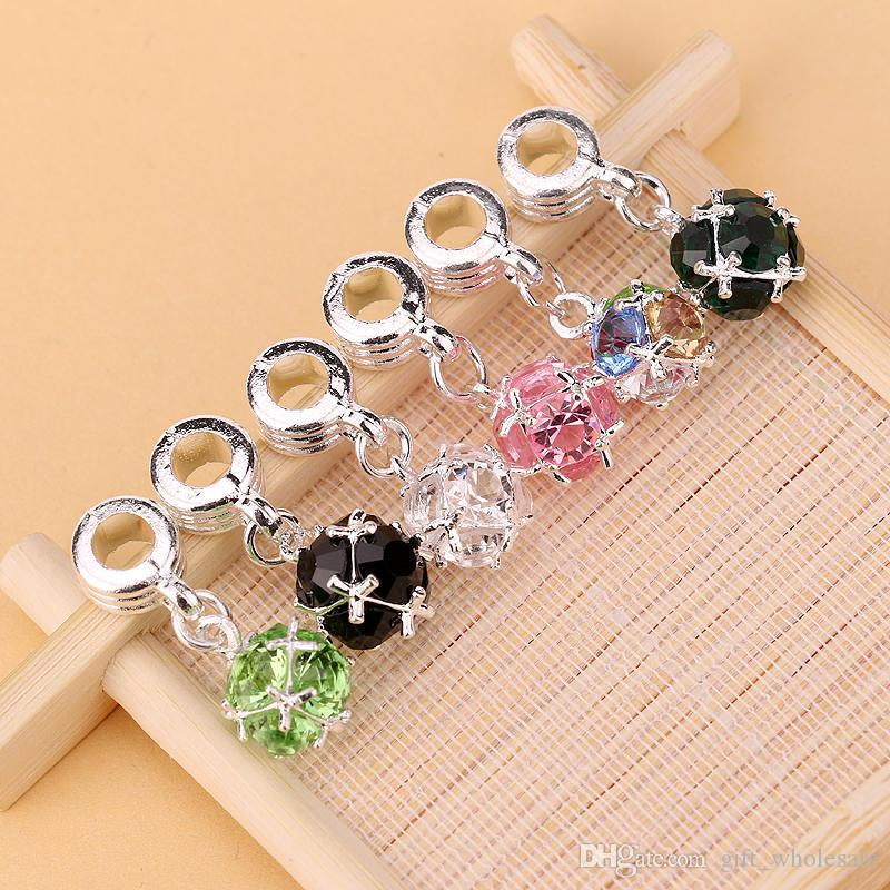 Wholesale 100pcs 6 Colors DIY Crystal Rhinestone Ball Dangle Bead Fit Charm European Bracelet DIY Jewelry