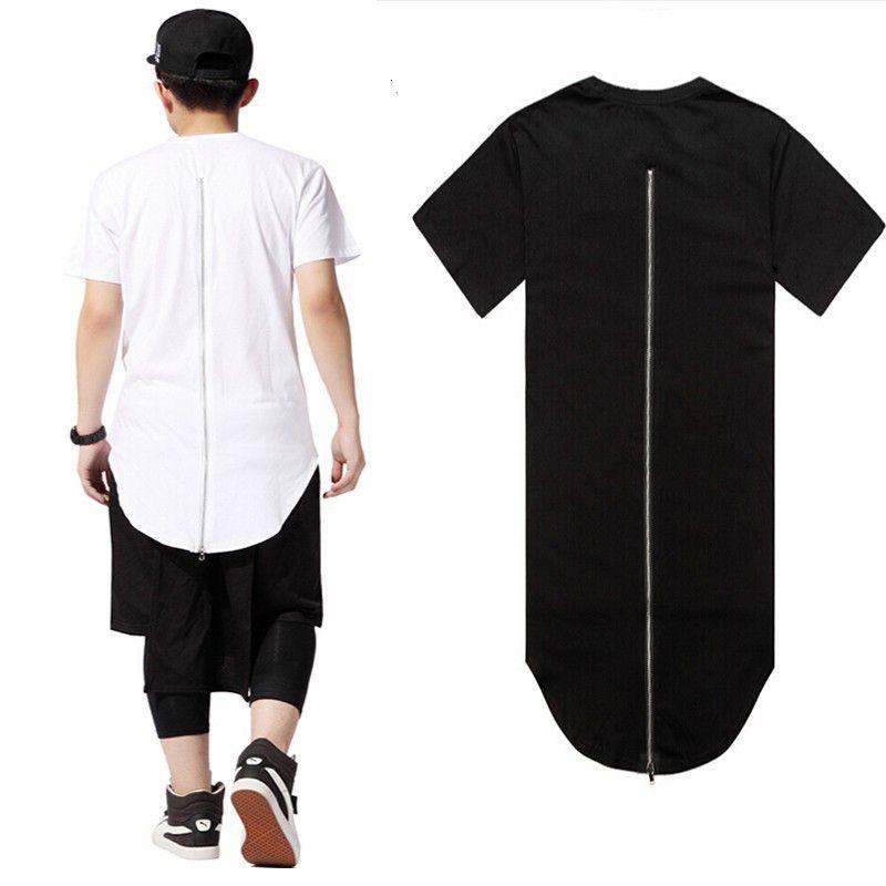 Gros-Hip Hop Hommes t-shirt tyga Cool surdimensionné Side Zipper Extended T-shirt hba jay-z Casual en cuir à manches courtes Tee.