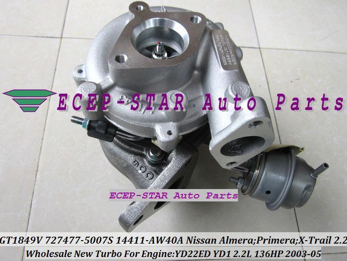 Ölgekühlte GT1849V 727477 727477-5006S 727477-5007S Turbo Turbolader 14411-AW40A für NISSAN X-Spur DI Almera Primera DCI YD22ED YD1 2.2L
