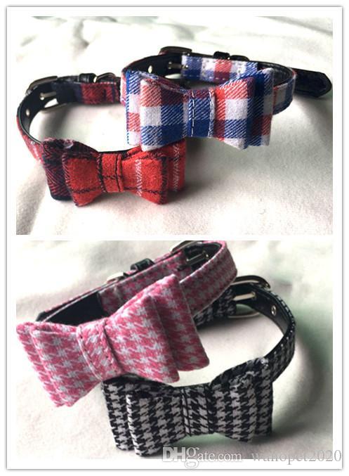 Freies Verschiffen Haustierhundewelpenkatzenkätzchen-Kragen-Halsketten-Plaid mit kleinen Hundehaustierkragen der Glocke mischte Farben 20pcs / lot