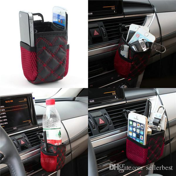 Storage For Cars >> Auto Car Red Wine Color Net Storage Bag Mobile Phone Pocket Car Organizer Airvent Air Vent Hanging Storage Bag Holder Accessories Storage Containers