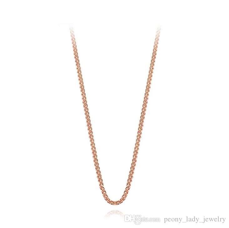 925 artículos de plata esterlina joyería 45 cm corrugado cadena cruzada dorado color de rosa encantos vintage nueva llegada