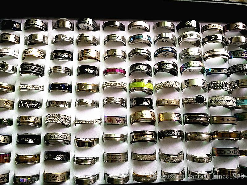 all'ingrosso lotti all'ingrosso di lotti 100pcs stili misti da uomo in acciaio inox anelli di gioielli in acciaio inox zecca nuovo sconto Prezzo