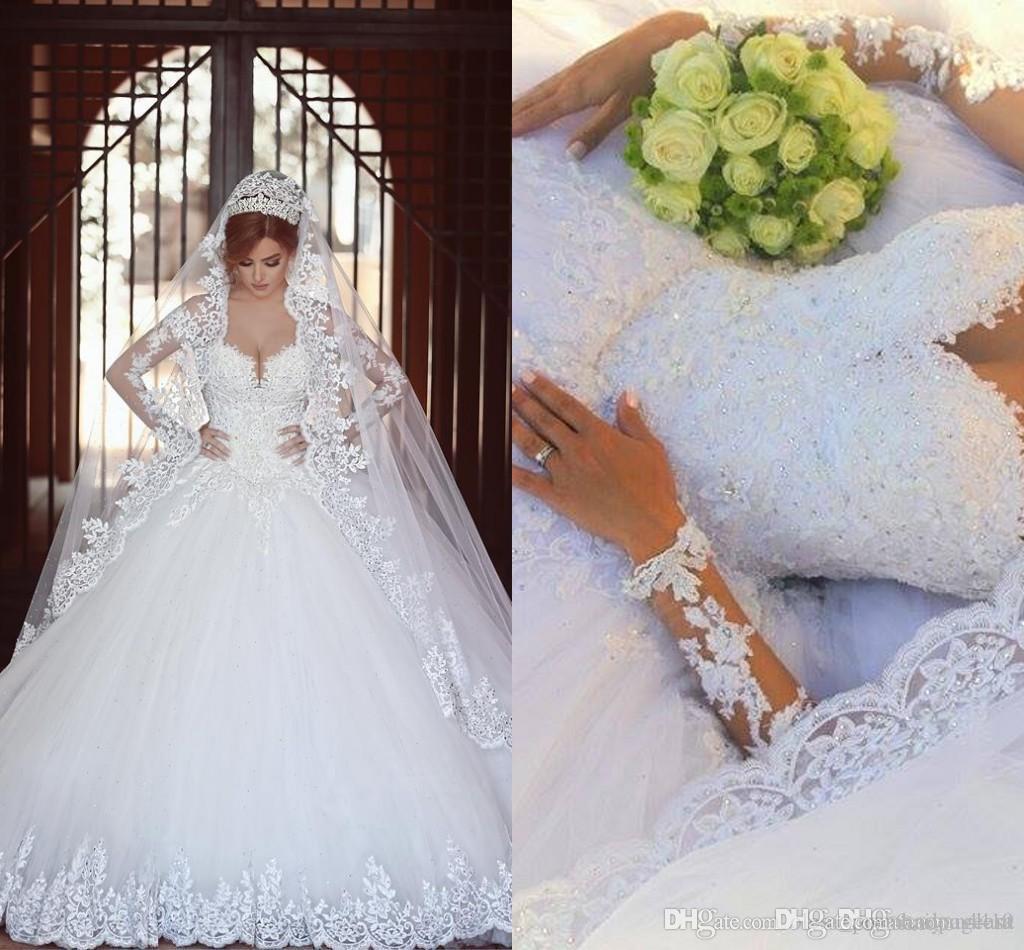 2017 Illusion Nuovo arabi sfera vestiti da cerimonia nuziale del merletto del collo Appliques Perline Tulle maniche cappella treno Plus Size Formale Abiti da sposa