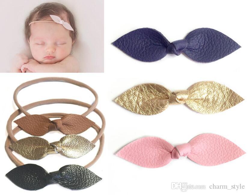 """NUEVA LLEGADA ! Mini 2.75 """"Baby Girls Cuero Knot Bows Bows con clips / Cuero Bow Headbands Kid Hair Bandands Accesorios para el cabello 100pcs /"""