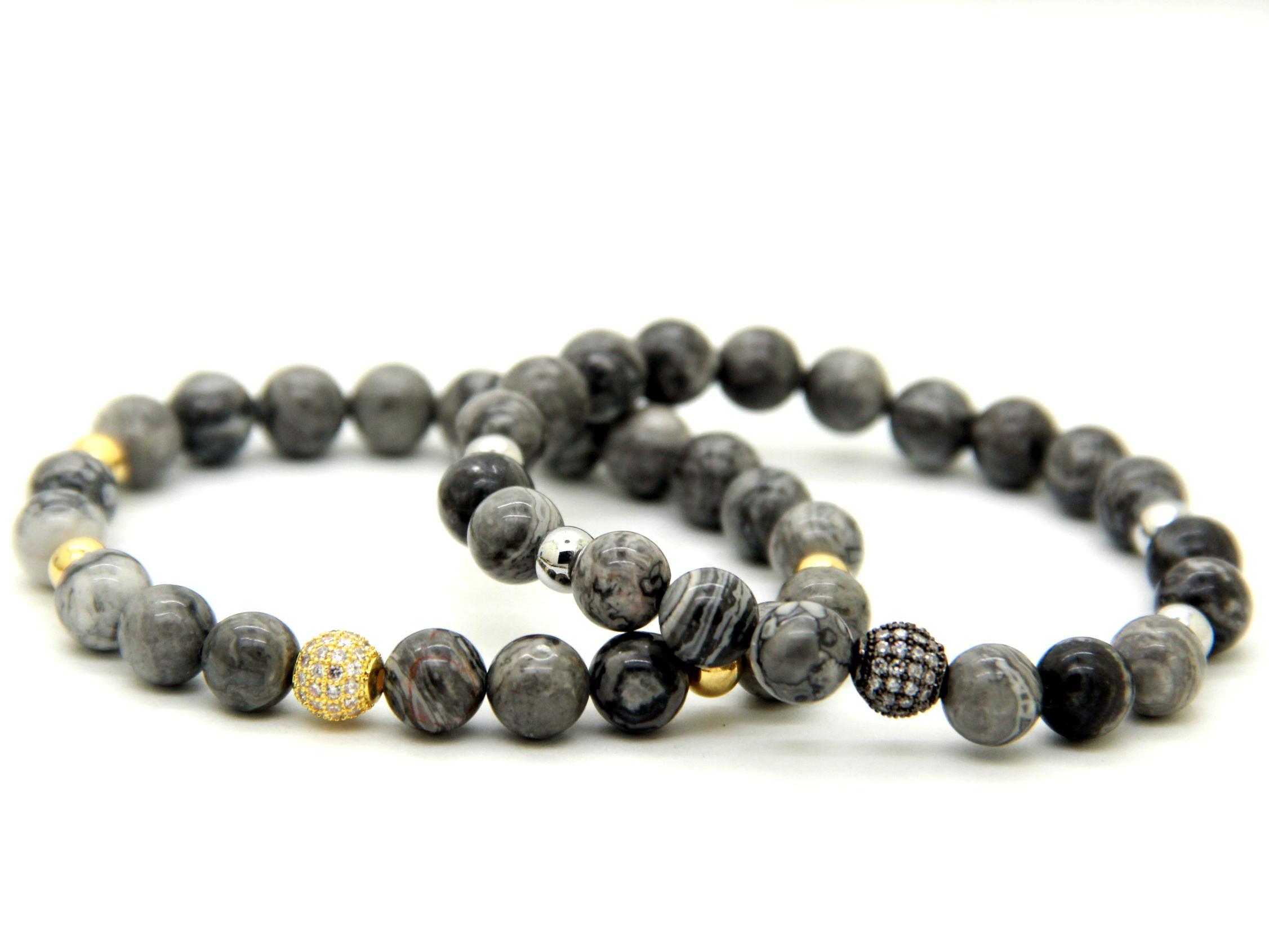 2016 de Alta Qualidade de Jóias Por Atacado 8mm Cinza Imagem Jasper Stone Beads Micro Pave Preto e Ouro CZ Beads Pulseiras Mens presente