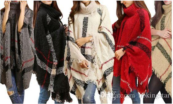 High Turtle Neck Plaid Poncho Women Knitted Striped Tassel Sweater Top
