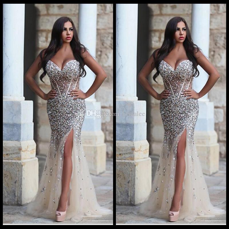 Sparkly Schwere Perlen Meerjungfrau Brautkleider 2016 Side Split Tüll Sheer Lady Celebrity Kleider Frühling Land Ballkleider Benutzerdefinierte