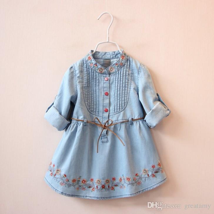 Dobrej Jakości Dżinsowa Sukienka Dziewczyny Miękkie Bawełniane Dżinsowe Suknie Dziecko Z Długim Rękawem Kwiatowo-Haft Dżinsowy Dżins Kids Wiosna Jesienne Suknie
