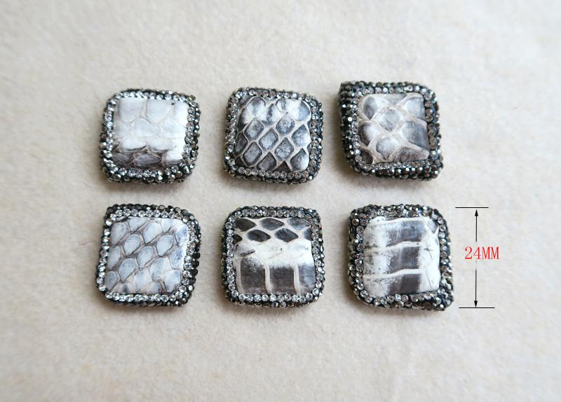 10Pcs Natural square Snakeskin Stone Beads Pave Rhinestone Connector Spacer Bead For DIY Making Bracelet necklace Jewelry BD46