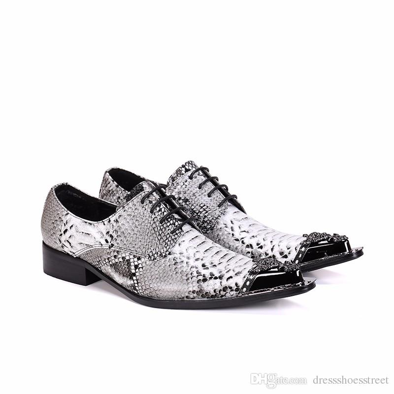 Zapatos de cuero hechos a mano Oxford cocodrilo hombres vestido con cordones de los zapatos de moda zapatos de boda del estilo del negocio