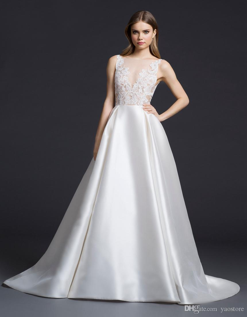 aaf3b42c2 ... Vintage Ivory Silk Mikado Vestidos de novia 2016 esquileos apliques de encaje  blusa vestidos de novia ...