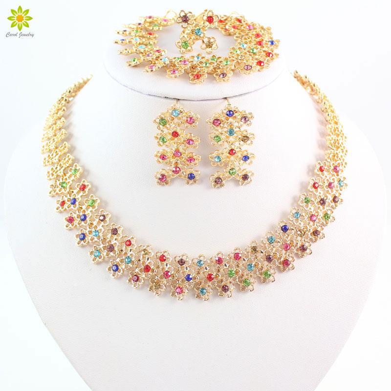Grânulos Africano Colorido Colar De Cristal Brincos Anéis Pulseira Conjuntos de Jóias Para As Mulheres Banhado A Ouro Acessórios Do Casamento