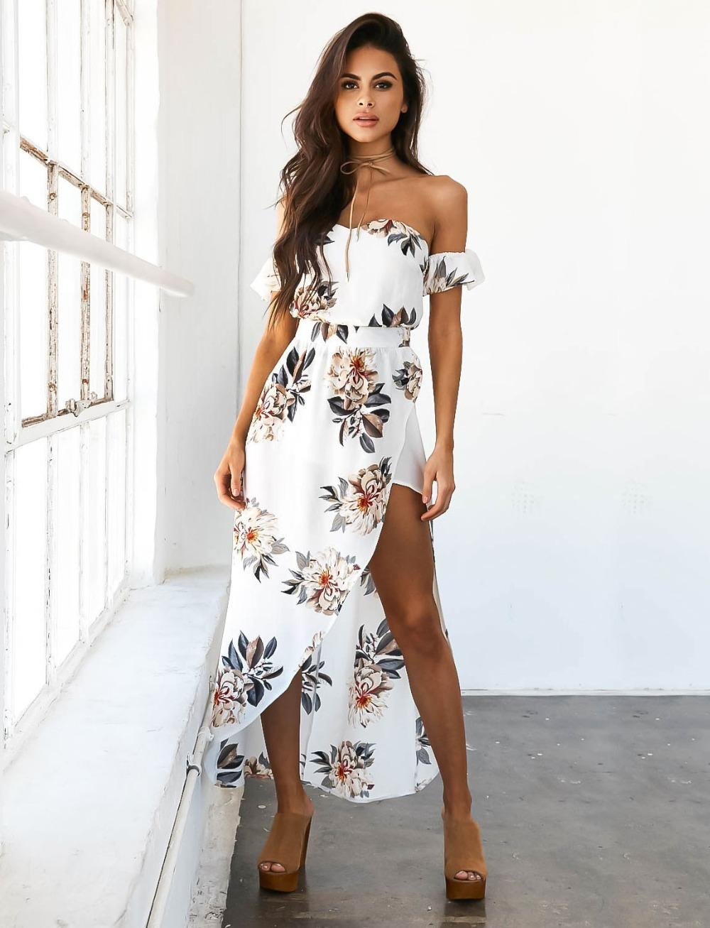 49ad5dcd76 Summer Women Bobo Slash Neck Beach Casual Floral Print Off the Shoulder  Strapless Femme Vestidos Maxi White Party Dress