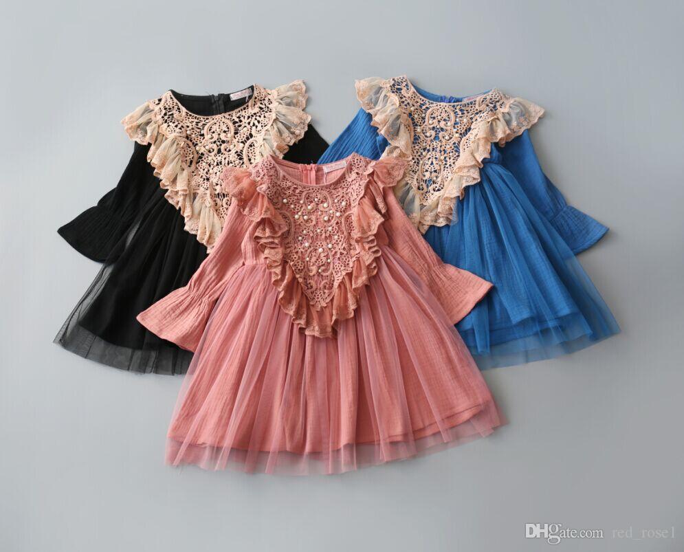 2017女の赤ちゃん子供パーティードレス新しい子供たち子供の秋のレースフレアスリーブのドレス、プリンセス女の子甘いドレスクリスマスのドレス子供の服