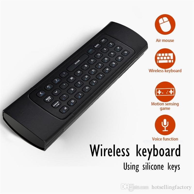 Genuine MX3 Wireless Keyboard With LED MIC Fly AirMouse Mini Wireless Remote G Sensing Gyroscope Sensor For MXQ M8S All Android TV BOX