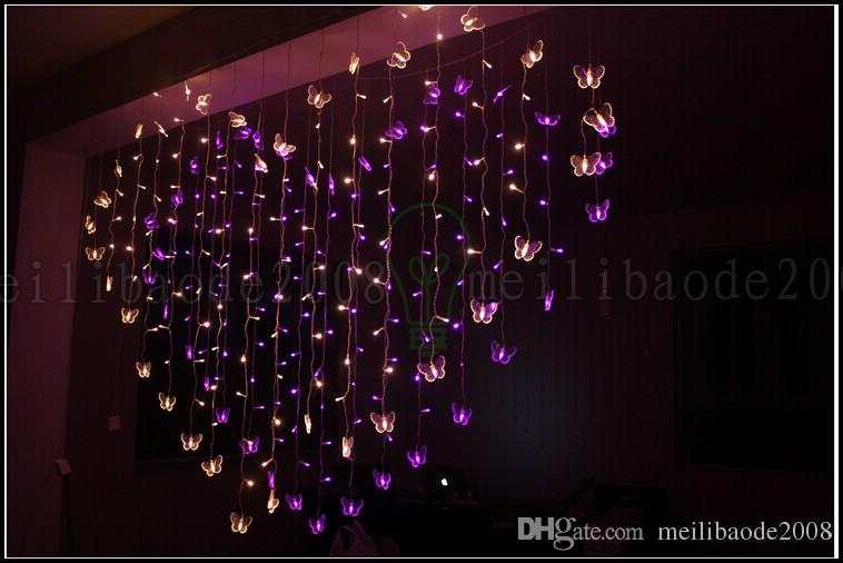 cheap for discount 8aebb cda34 128 LED 2M*1.5M Marriage Room Decorated Heart Shaped Romantic Courtship  Butterfly String Lights Flashing LED Christmas New Years Lighting Globe  Lights ...