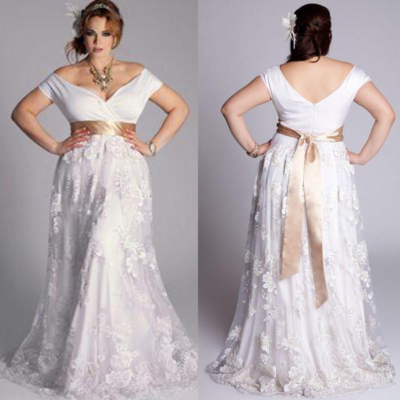 2020 Nuevo Tallas grandes Vestidos de novia Fuera del imperio del hombro Un tren de barrido de línea Hermosa encaje más tamaño Wome BRIDAL BUSTS Tamaño hecho a medida