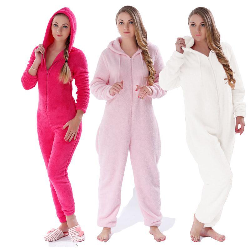 플러스 사이즈 털이 양털 Onesie 핑크 Hot Pink Cream Sleepwear 겨울 따뜻한 후드 파자마 세트 Onesie for Women Girls