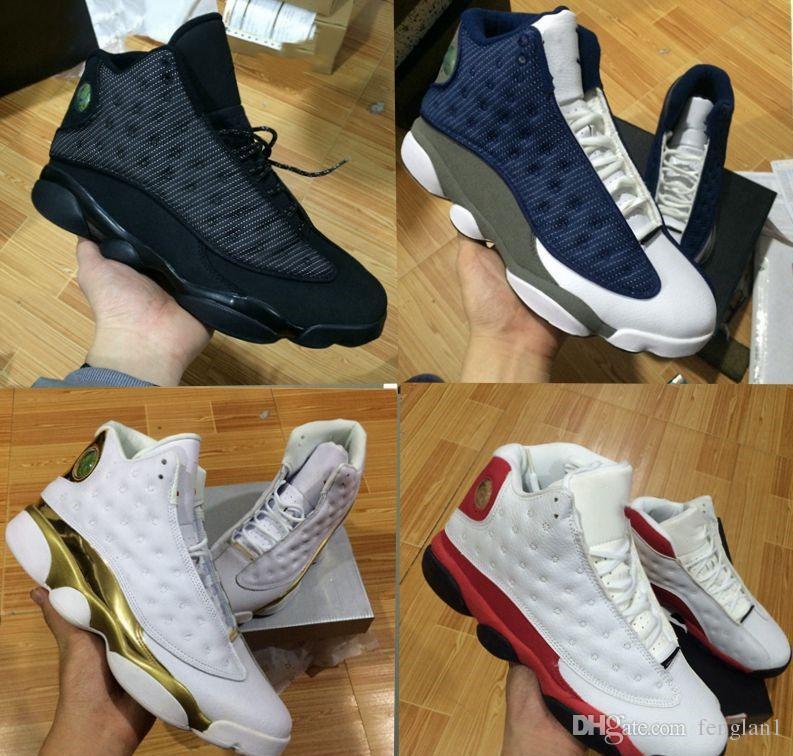 2018 13s OG Black Cat Basketball Shoes 3M Reflect For Men Sports Training Sneakers High Quality Blackcat Big kids shoes 36-47