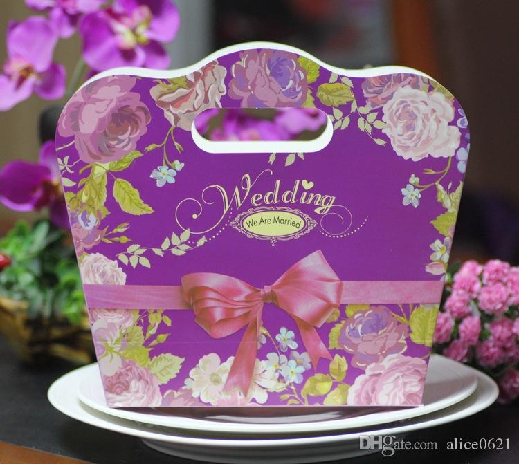 Big Size Wedding Favors and Gift Box Peony Flower Handbag Candy Box For Wedding Souvenirs To Guests 3 Color