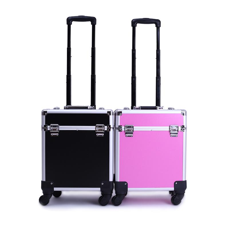 Professional Makeup Case Pvc Aluminum Trolley Cosmetic Case Makeup Bag Travel Cosmetic Bag Storage Cosmetic Cases