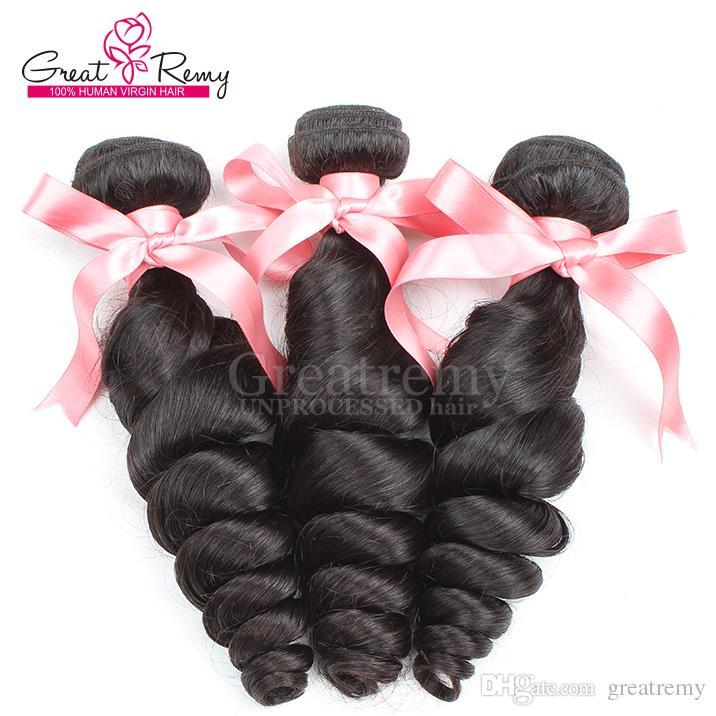 Schöne Haar-einschlag 100% brasilianische Malaysian Virgin Haar 34pcs / lot Remy Menschenhaar Weaves Verlängerung lösen Welle einfärbbar Greatremy