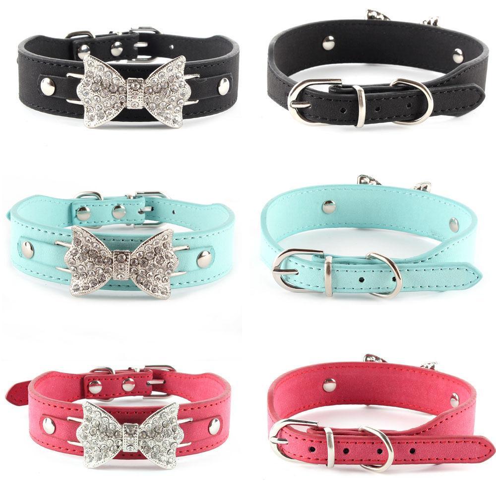 الجملة-أفضل سعر ل كلب طوق بلينغ كريستال القوس جلد الحيوانات الأليفة قلادة الجرو قلادة القطة XS S M