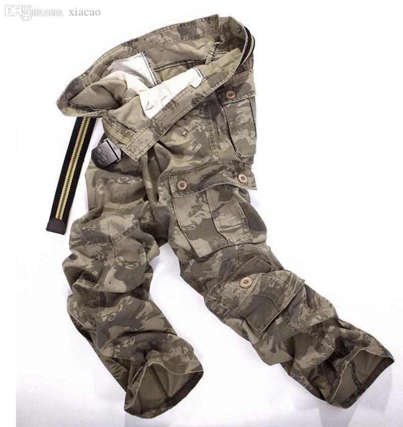 Atacado-homens Casual Sólido Solto Longo Pant Plissado Multi Bolsos Mid Cintura Cintura Calça Lavada Multi Cor Macacões Calças Homens Army Calças
