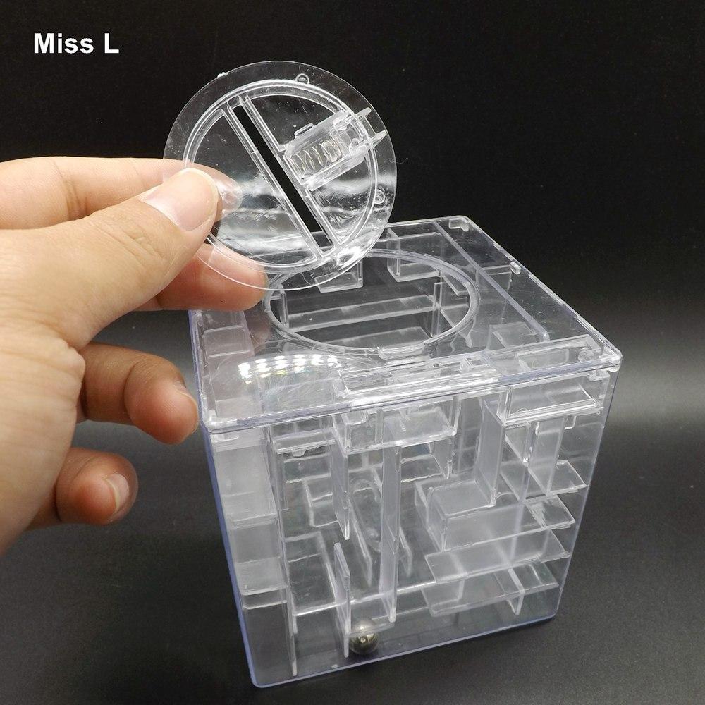 Transparente Dinero Fresco Laberinto Caja de Ahorro de Monedas Juego de Puzzle 3D Titular de Regalo Regalo de los niños Gadget divertido
