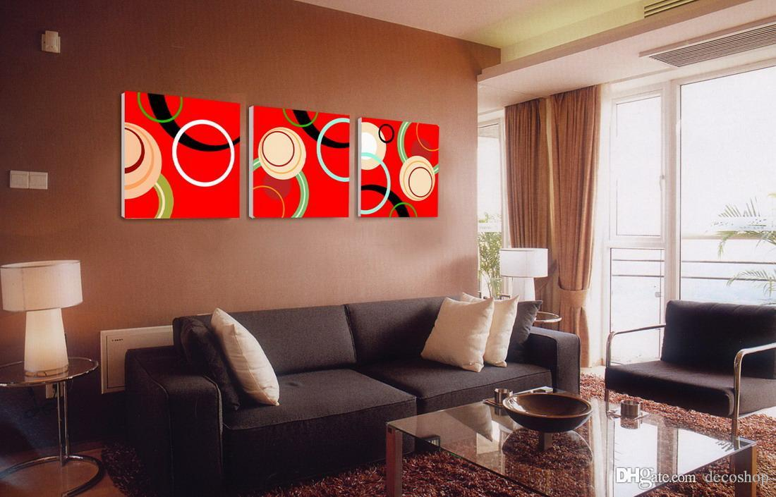 Moderna Fina Círculo Abstrato Pintura Impressão Giclée Na Parede Da Lona de Arte de Decoração Para Casa Set30226