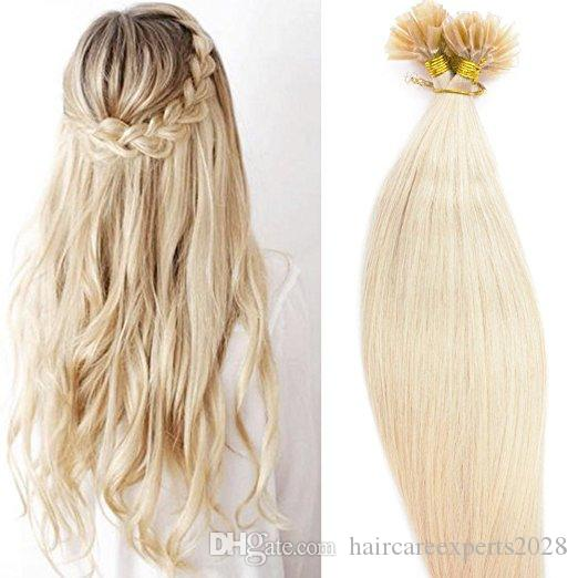 """ELIBESS wholesale -300s/pack 1g/s 20"""" Keratin nail u Tip Human Hair Extensions Indian hair 613# 60# platinum blonde dhl Fast shipping"""