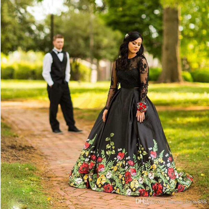 90d456d412db 2017 Open Back Two Piece Floral Print Graduation Homecoming Dress Long  Sleeves Lace Prom Gown Satin ...