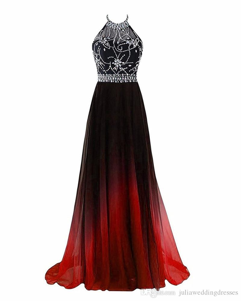 2017 Sexy Halter Backless A-Line Crystal Prom Dresses With Sequined Chiffon Plus Size Evening Formal Party Gown BP10