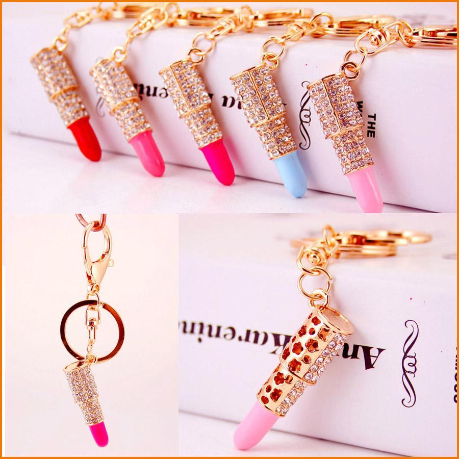 (5 Colors) Lipstick Makeup Keyring Rhinestone Purse Bag Charm Pendant Keychain Christmas Gift for Girl Woman Lady