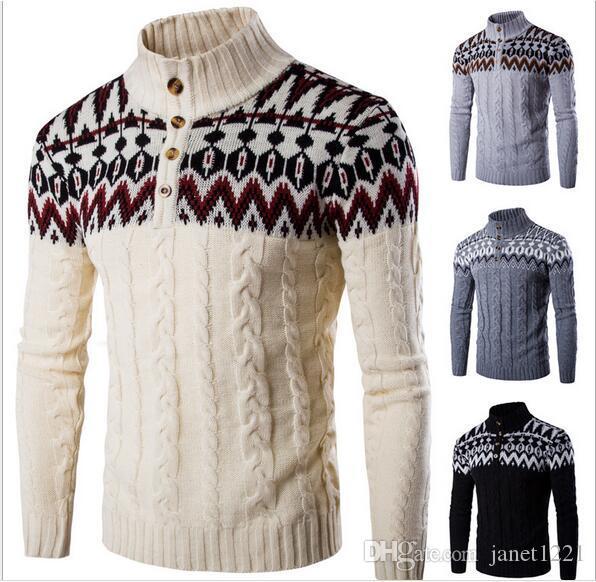 Pullover Wild Herren Pullover Patchwork Druck Design Casual Rundhals Strickwaren Für Männer Wolle Dünne 2016 Herbst Männer Pullover J160903