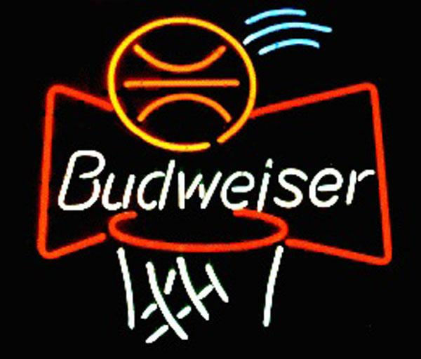 "Budweiser Basketball Neon Sign Real Glass Custom Handmade Beer Bar Store Pub Club Game Room Sport Advertising Display Neon Signs 24""x24"""